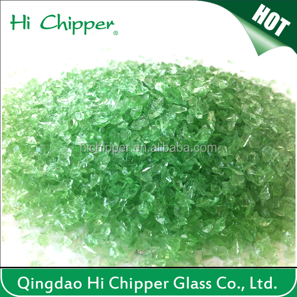 crushed green landscaping glass sand