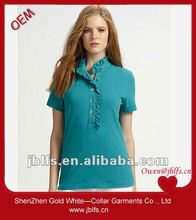 Hot selling office ladies design ruffle cotton t shirt