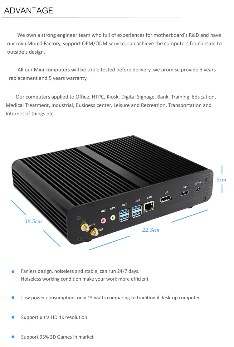 wholesale intel core i7-7500u mini pc 4k oem computer