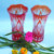Japanese Edo Kiriko Cut Big Tall Glass Flower Vase
