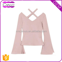Ladies Plain Dyed V-neck Long Sleeve 180g 100% Cotton Women T-Shirt Wholesale china