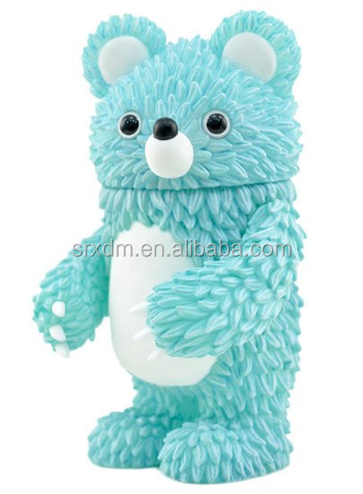 OEM plastic little cute 8 inches blue bear cartoon vinyl toy for child