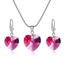 Red Crystal Heart Pendant Earring Necklace,Simple Design Bridal Jewelry Set Made With Crystals From Swarovski
