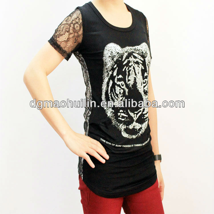 ladies lace hot drilling tiger printed T shirt