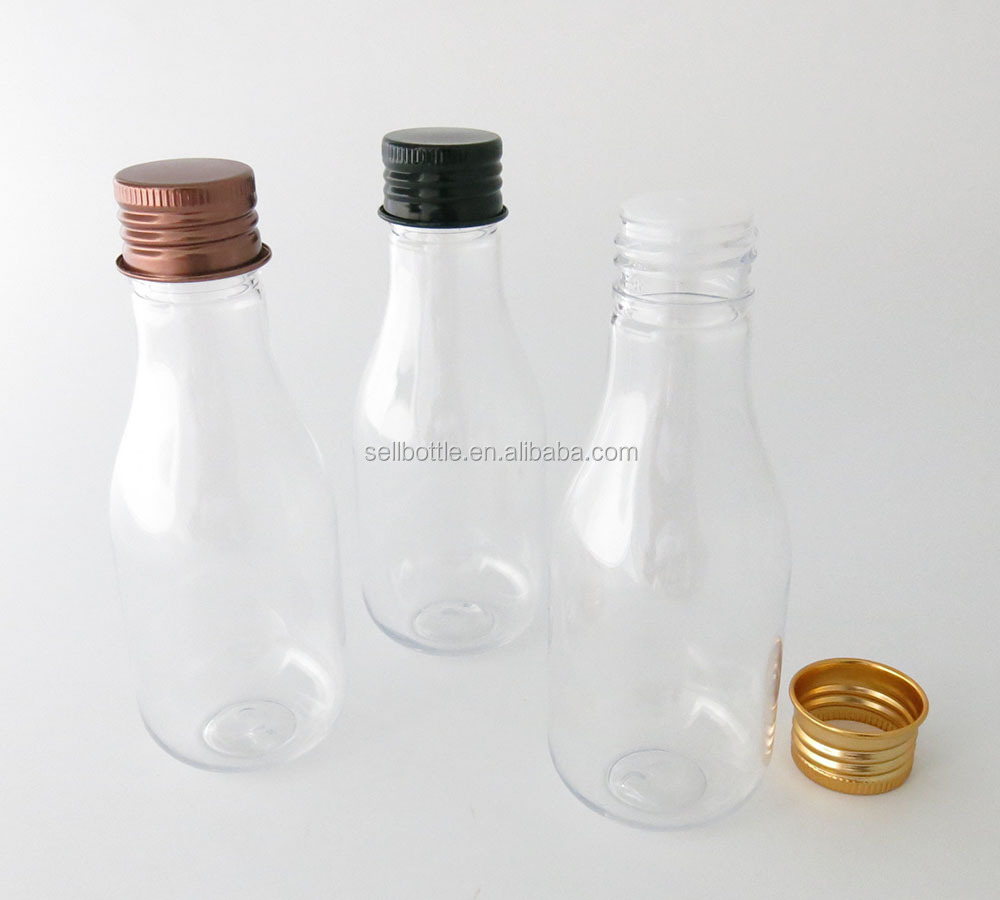 100ml clear bowling shape plastic bottle with colorful cap