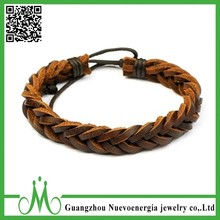 Brown Braided Leather Bracelet for Women and Men Genuine Leather Rope Wristband Wrap Bracelet Adjustable