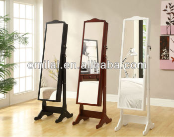 Dressing Jewely Mirror Stand Wooden Rotating Mirror Cabinet