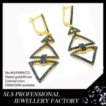 2015 wholesale sexy ladies earring rhondium/zc pave 2 long eardrop black dangle earrings