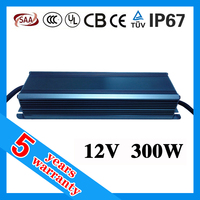 5 years warranty 25A 12vdc 300 watt IP65 dc 12 volt cv IP67 12V 300W output constant voltage waterproof LED power supply