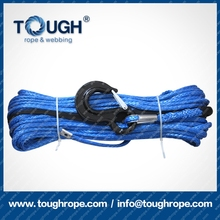 TOUGH electric winch by synthetic dia.9.5mm rope with thimble 1m black protective coat nose end lug different color choosing