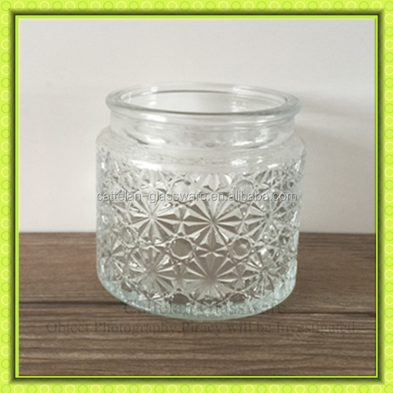 crystal old fashioned empty glass jar for candle making,glass wax container for home decoration