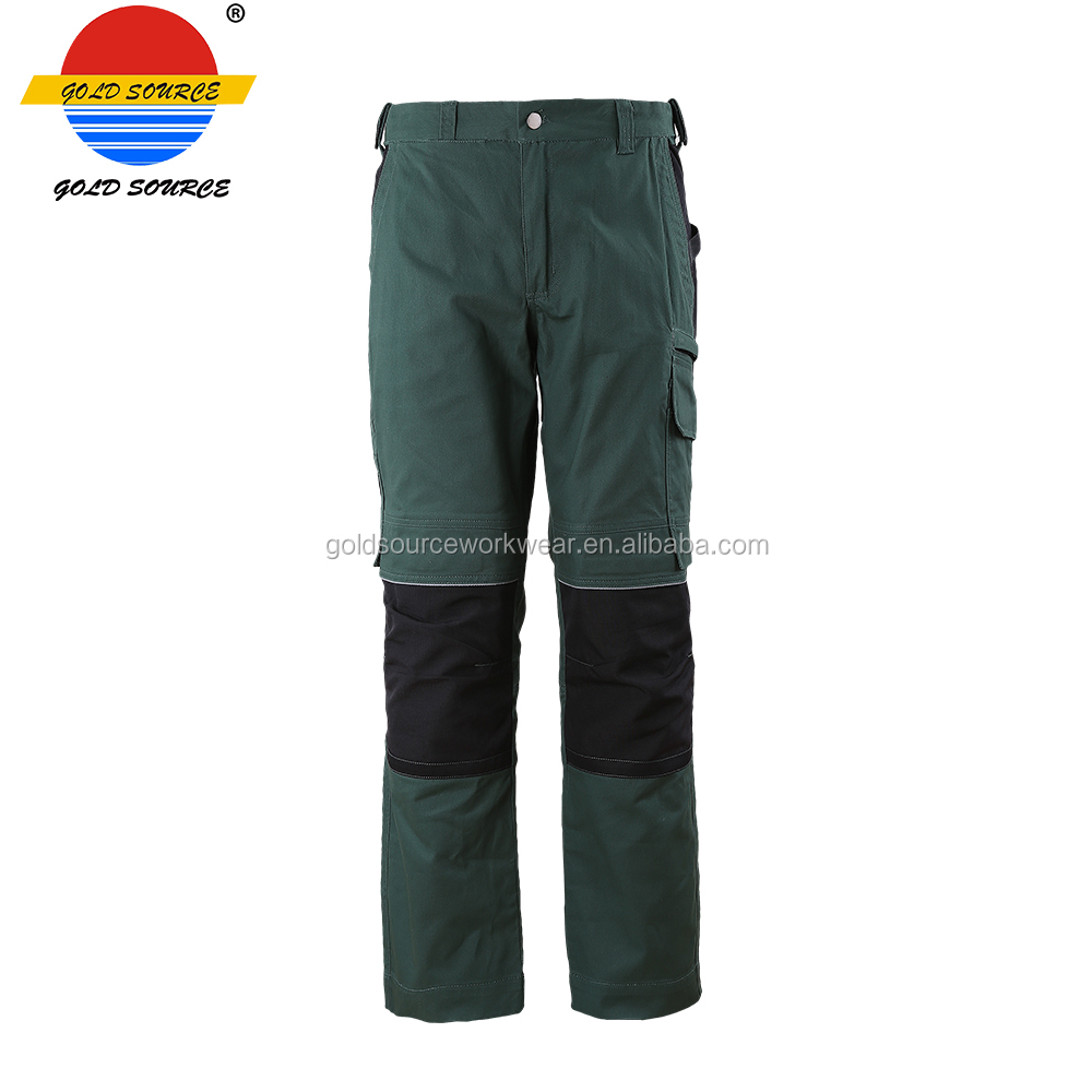 Green Contrast Black Cotton Trousers Stylish Outdoor Work Pants Mens Workwear