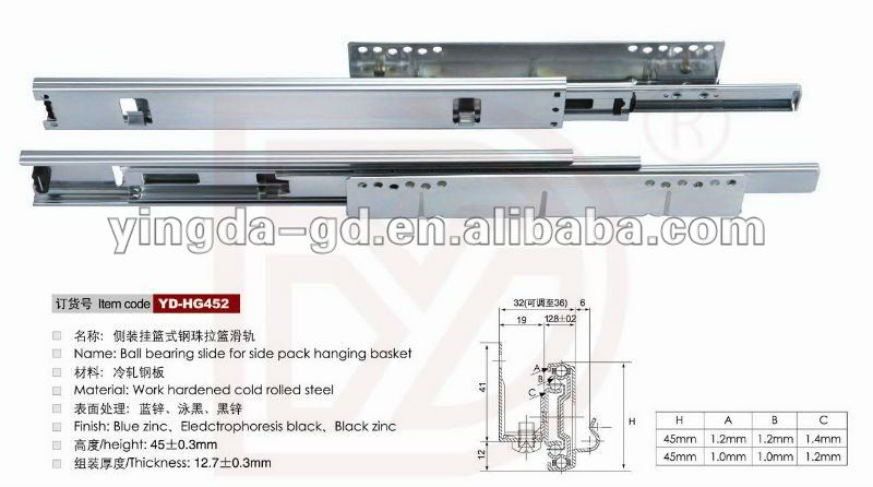 45mm 2 fold full extension telescopic ball bearing tool box drawer slide rail for Side mount hanging basket drawer slide