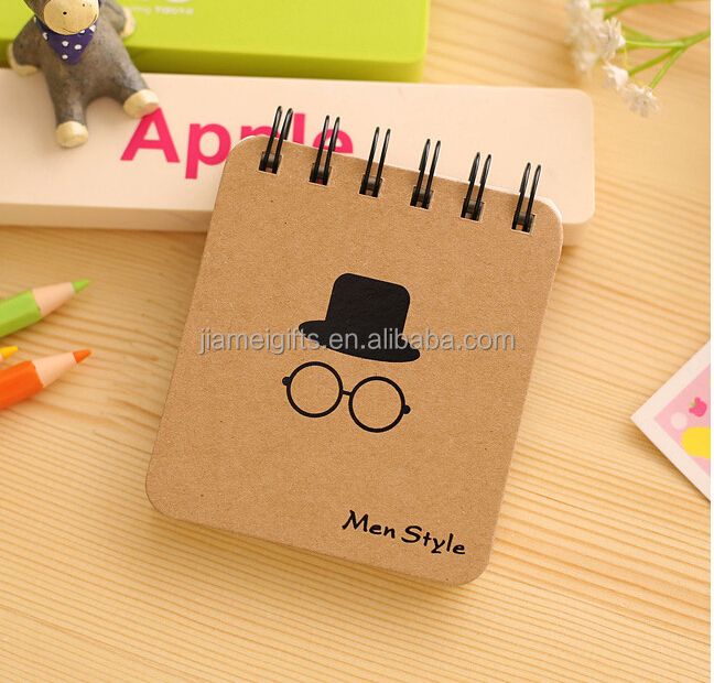 Promotional recycled mini size kraft notebook,DIY printing cover A6 pocket size notebook spiral,custom memo pad spiral notebook