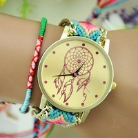 New Brand Handmade Braided Dreamcatcher Friendship Bracelet Watch Rope GENEVA Watch Ladies Quarzt Watches relogio feminino