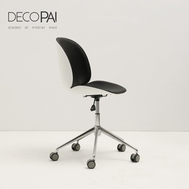 half frount upholstery soft seat office chair <strong>aluminum</strong> base with caster <strong>beetle</strong> chair for cafe restaurant dining room
