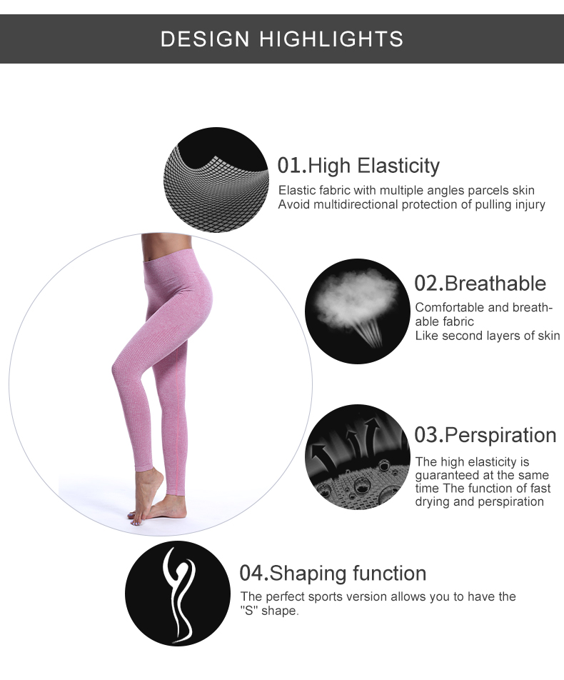 Gym Fitness Sport wears Women wholesale pink leggings seamless yoga pants Running high waisted seamless leggings for women