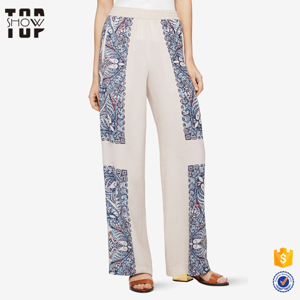 China custom printed fabric bell bottom trousers cutting women cargo pants