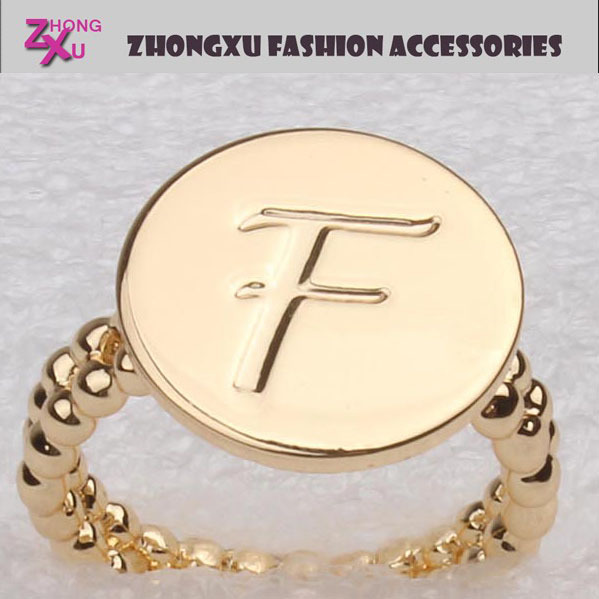 latest wholesale hot sale gold plated custom initial ring