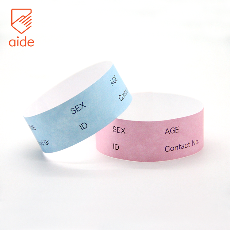 China OEM Writable Medical ID Bracelet Tyvek Paper Write On Wristbands With Names
