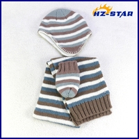 HZM-13207001 stripe newborn knitted baby cute earmuffs hat and glove scarf set