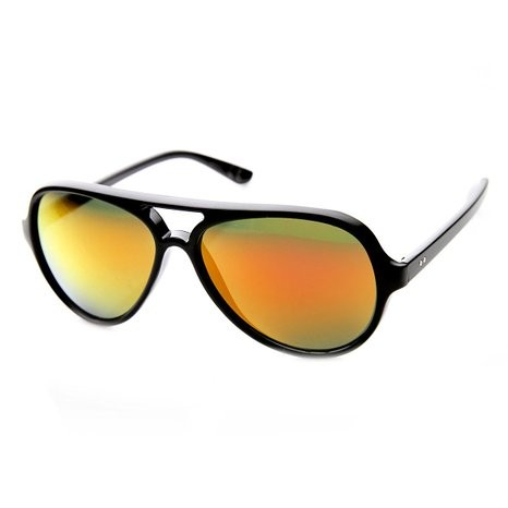 Classic Teardrop Flash Mirror Color Lens Plastic  Sunglasses