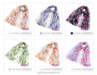 Europe & South Korea sweet Bilateral lilies voile scarf small flower Ms autumn/winter fashion shawl