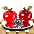 Colorful crystal apple with metal leave for wedding gift