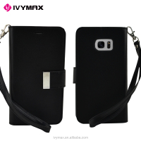 IVYMAX good quality wallet case fashion PU leather mobile case for Samsung s7