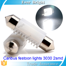 8000K white led festoon lamp led canbus 9~30V CERAMIC map reading light in car roof top dome light 2 smd 3030 led