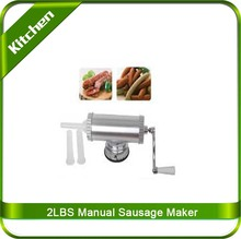 2 lbs Homemade Sausage Maker Meat Stuffer With Suction Base Stainless Steel Salami Maker Manual Home Sausage Filler