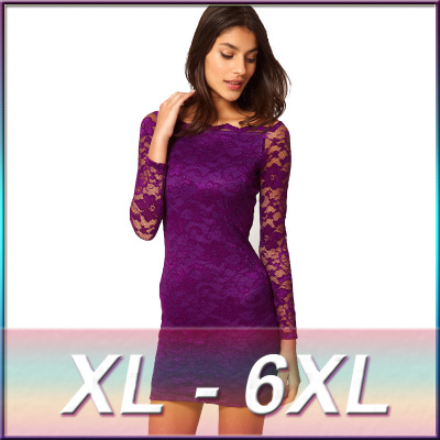 Trendy women plus size long sleeve style lace dress design dropship clothing