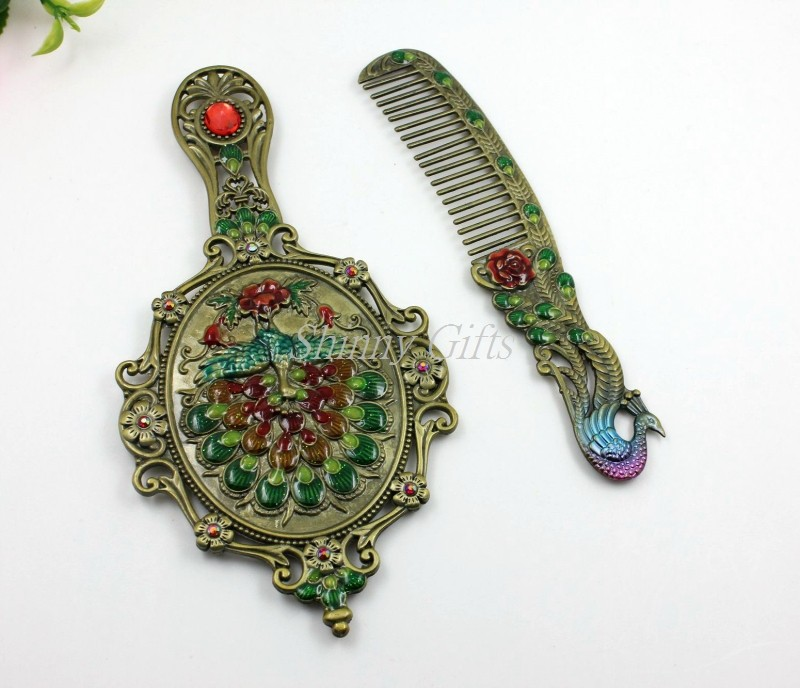 Shinny Gifts Enamel Phoenix Design Metal Compact Mirror Cheap Wedding Gifts