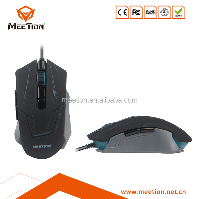 4000 DPI LED 3D Wired USB Optical Black Golden Gaming Mouse