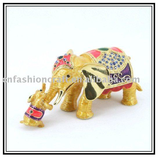 trinket box Elephant metal small size pewter made for wedding gifts
