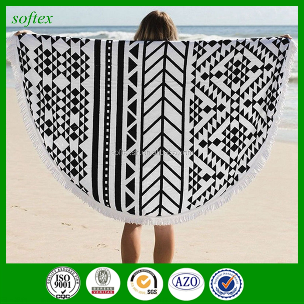 Round Beach Black Bath Towel, With Tassels 100% Cotton, Perfect Souvenir