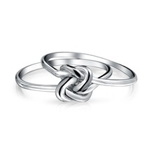 Rhodium Plated 925 Sterling Silver Love Knot Infinity Band Ring