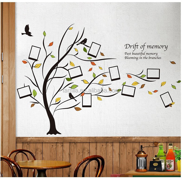 Home Decorative Family Memory Tree with Photo Frame & Birds Wall Decal Sticker