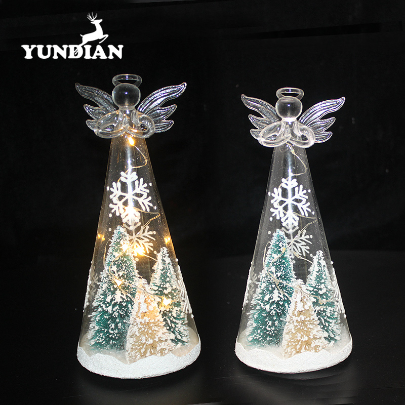 Factory wholesale christmas ornament led light up glass angel decoration