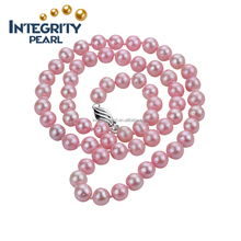 natural freshwater pearl pink color 7mm AA- round 925 sterling silver women jewelry necklace