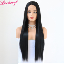 Lvcheryl Soft Long Straight Lace Front Wigs Hand Tied 1B High Density Glueless Heat Resistant Synthetic Hair Wigs For Womens