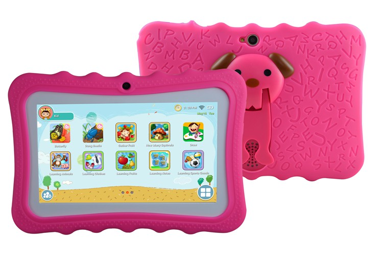 2017 New 7 inch children educational learning android kids tablet with silicon case stand