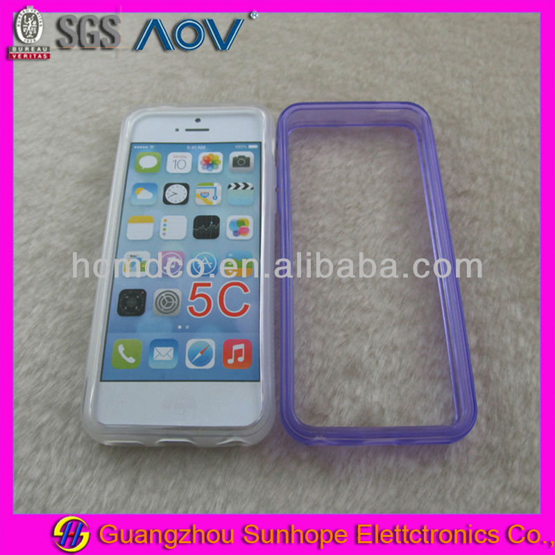 TPU Transparent Bumper Frame Case Skin for apple iphone 5C