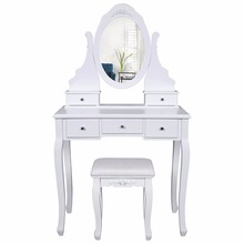White Makeup Dressing Table with 1 Mirror 1 Drawer Stool Shabby Chic Wooden Dressing Table Designs
