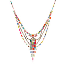 Special design Acrylic bohemian personality tassel multicolor pendant necklace female chain Accessories 18k gold jewelry fashion