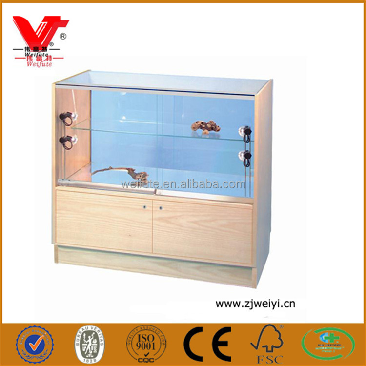 Glass jewelry display case cabinet, countertop jade pendant stand display