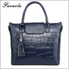 2016 Fashion handbag 100% genuine leather hand bag blue satchel bag for wholeasale