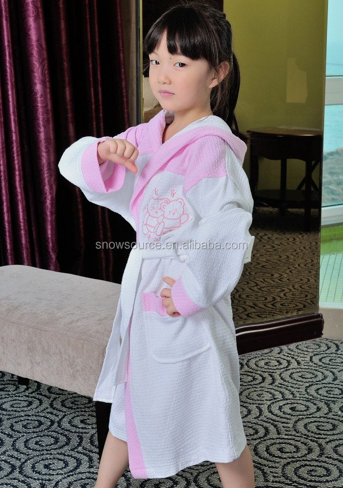 Dealership wanted polyester cotton waffle pink and white kids bathrobe