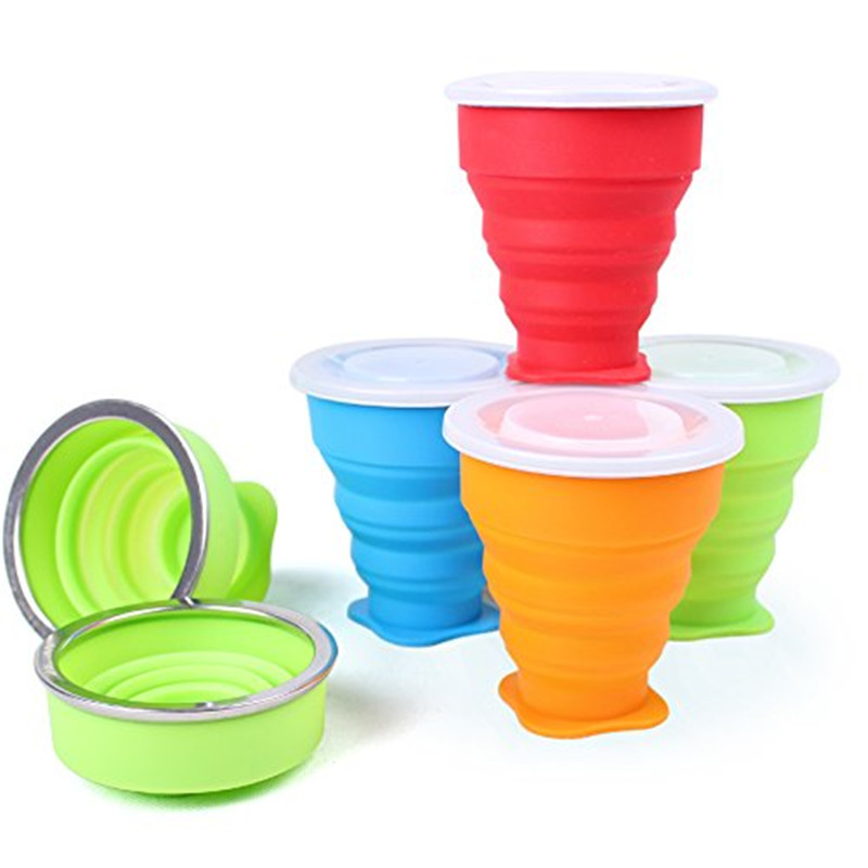 BPA free Collapsible Colorful Silicone Travel <strong>Cup</strong> with Lid