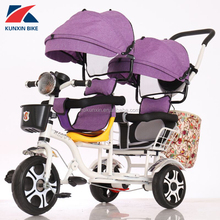 Luxury Two seats baby tricycle children bike for twins smart trike ride on toy